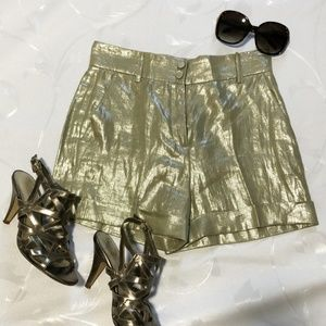 Tara Jarmon metallic linen shorts NWT